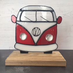 Stained Glass VW Style Retro Camper-van Red And White - Freestanding