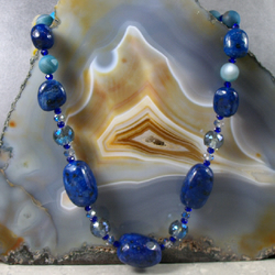 Chunky Semi-Precious Lapis Lazuli Necklace with Crystal Beads, Semi-Precious Gem