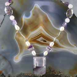 Rose Quartz Amethyst Gemstone Necklace, Handmade Pendant Necklace MS466