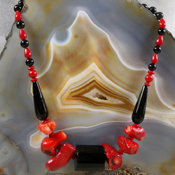 Onyx, Coral, Obsidian Gemstone Necklace, Unique Red & Black Necklace  MS465