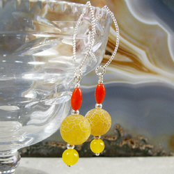Red, Yellow Long Gemstone Earrings, Coral, Agate Long Earrings MS460