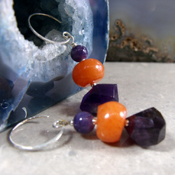 Dangle Earrings, Coral Amethyst Gemstone earrings  MS467