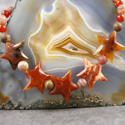Agate Gemstone Necklace, Agate Star Necklace Design MS421