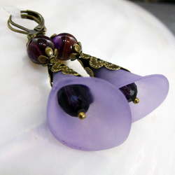 Purple Dangle Earrings, Purple Crystal, Gemstone Earrings FE74