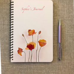 Journal, travellers journal, floral book, notebook, floral gift, Mum gift, poppy