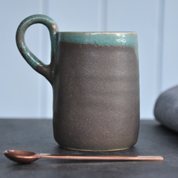 New Grey and Green Mug, Pottery Mug, Ceramic Mug, Handmade mug, Tumbler, Home,