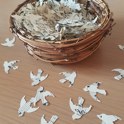 Dove Shaped Wedding Confetti Sheet Music Shabby Chic Retro Rustic