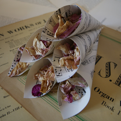 12 x Antique Rustic Aged Paper Confetti Cones Cream Sheet Music Vintage Wedding