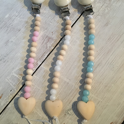 Dummy clips with wooden and silicone beads