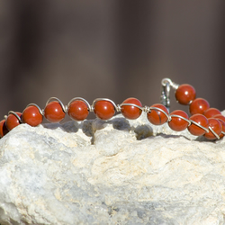 Red Jasper Wire Wrapped Bracelet Sterling Silver Bracelet Red Bracelet
