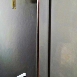 By: CHRISTIAN KLAAS. Large minimalist copper pipe floor lamp twin angled bulbs