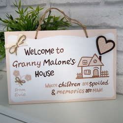 Personalised Gift for Grandma. Mother's Day. 'Welcome to Granny's House' Sign