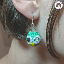Owl Earrings, handmade micro crochet