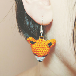 Fox Earrings, handmade micro crochet