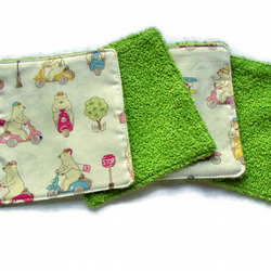 Cute bear reusable washable wet wipes in terry toweling and cotton Top Stitched