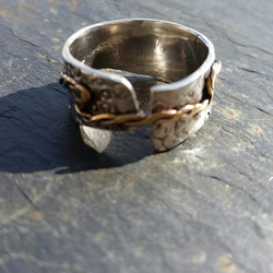 Chunky organic  9ct White Ring with 9ct Gold twisted Strap