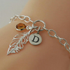 Sterling Silver Feather Charm Bracelet, Personalized Initial Bracelet