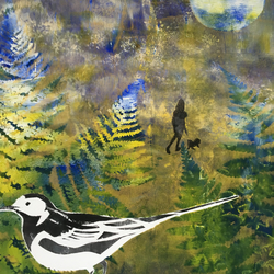 A Walk in Spring with Pied Wagtail (unframed print)