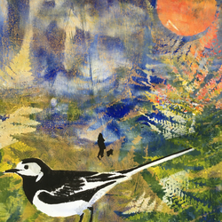 A Walk in Summer with Pied Wagtail (unframed print)