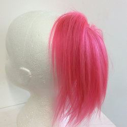 Pink human hairpiece scrunchie Ponytail hippie punk