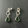 Handmade Sterling Silver and Green Sea Glass dangle studs