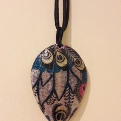 Decoupaged peacock pattern necklace
