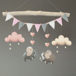 Elephant, Cloud and Stars Baby Cot Mobile, Nursery Decor