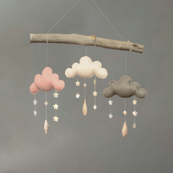 Cloud and Stars Baby Cot Mobile, Nursery Decor