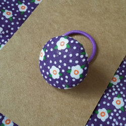 Girls purple floral button hair band tie