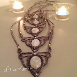 Handmade macrame necklace with moonstone