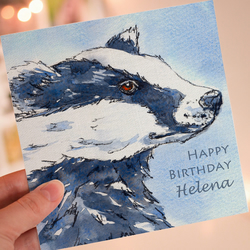 Badger Personalised Greeting Card
