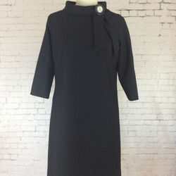 Black wool shift dress with vintage button detail