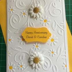 Embossed Anniversary Card Handmade and Personalised Daisy Design