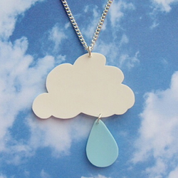 White Cloud and Raindrop Neckalce