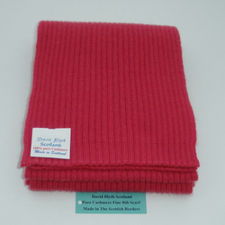 Pure Cashmere Knitted Scarf - Wide Fine Rib Design - Comelian Red 16 x170cm