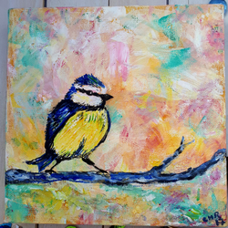 Sitting in Pastel,Blue Tit original bird painting