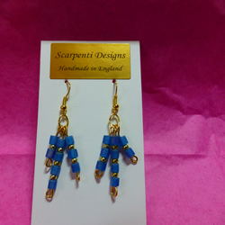 Gold plated wire and blue  bead Ancient Egypt inspired dangle earrings