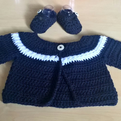 Baby cardigan set with ballet shoes