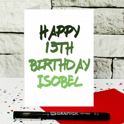personalised teenager birthday card - any name - any age - customised card