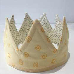 Fun Cotton Play Crown Yellow Cream and Gold, Reversible