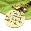 Affirmation bag charm with heart charms