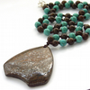 Pendant necklace bronze shield turquoise beads
