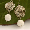 Wire rose earrings sterling silver