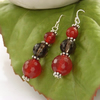Smoky quartz and carnelian earrings sterling silver