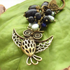 Owl bag charm or purse charm with freshwater pearls and goldstone beads