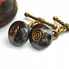 Hematite wire work swirl cufflinks