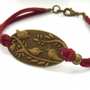 Three birds vintage style cord charm bracelet dark red