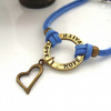 Love hope faith charm bracelet blue