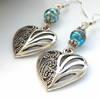 Heart and blue glass bead earrings sterling silver