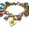 Bracelet heart charm glass beads and sari silk